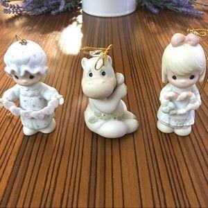 (3) Vintage Precious Moments Christmas Ornaments